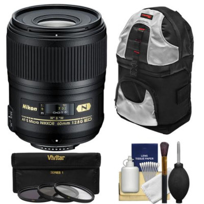 Nikon 60mm f/2.8G AF-S ED Micro-Nikkor Lens with 3 Filters + Sling Backpack + Kit for D3200, D3300, D5200, D5300, D7000, D7100, D610, D800, D810, D4s DSLR Cameras