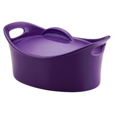Rachael Ray Casseroval Purple Stoneware Covered Casserole 4.25-qt.