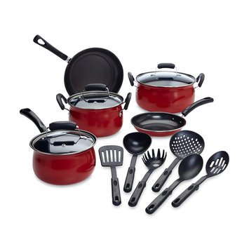 Tabletops Unlimited, Inc Essential Home 14 Piece Red Non stick Cookware Set - TABLETOPS UNLIMITED, INC.