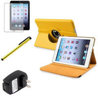 Insten iPad Mini 3/2/1 Case, by INSTEN Yellow 360 Leather Case Cover+Matte Protector/Pen/for iPad Mini 3 2 1