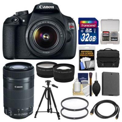 Canon EOS Rebel T5 Digital SLR Camera Body & EF-S 18-55mm IS II with 55-250mm IS STM Lens + 32GB Card + Case + Battery + Tripod + Tele/Wide Lens Kit