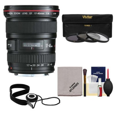 Canon EF 17-40mm f/4 L USM Zoom Lens with 3 (UV/ND8/CPL) Filters + Accessory Kit for EOS 6D, 70D, 5D Mark II III, Rebel T3, T3i, T4i, T5, T5i, SL1 DSLR Cameras