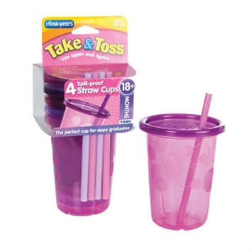 The First Years Take & Toss Spill-Proof Straw Cup, Pink, 4 ea