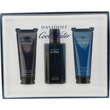 Cool Water By Davidoff For Men Edt Spray 2.5 Oz & Aftershave Balm 2.5 Oz & Shower Gel 2.5 Oz