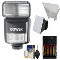 Bower SFD970 2-in-1 Power Zoom Flash & LED Video Light with Batteries & Charger + Diffuser + Bounce Reflector Kit for Canon EOS E-TTL DSLR Cameras