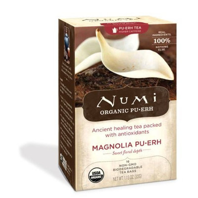 Numi Organic Tea Magnolia Puerh, Full Leaf Green Tea, 16-Count Tea Bags (Pack of 2)