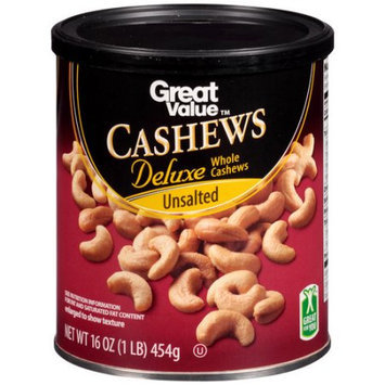 Great Value Unsalted Deluxe Cashews, 16 oz