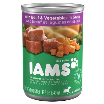 Iams ProActive Health Adult Dog Chunks with Beef & Vegetables in Gravy Premium Dog Food 12.3 Oz