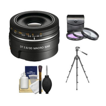 Sony Alpha DT 30mm f/2.8 Macro SAM Lens with 3 UV/FLD/CPL Filter Set + Tripod + Cleaning Kit for A57, A58, A65, A77, A99 DSLR Camera