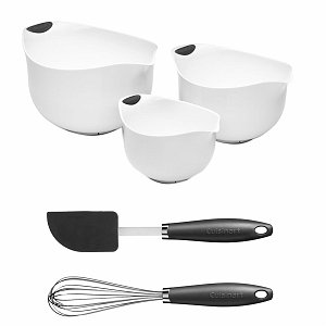 Cuisinart CTG-00-3B2GW White Mixing Bowl Set with Whisk and Spatula