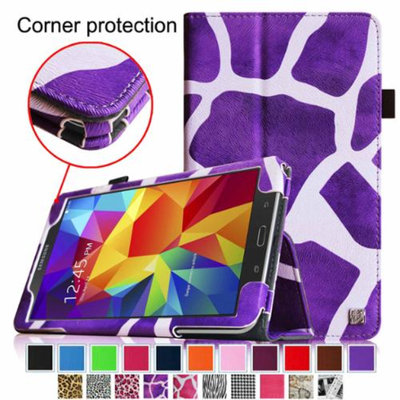 Fintie Folio Premium Vegan Leather Case Cover for Samsung Galaxy Tab 4 8.0 inch Tablet, Giraffe Purple