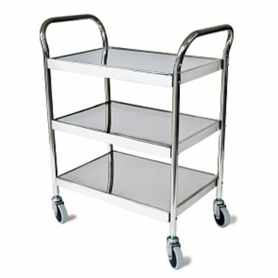 Grafco Utility Cart Stainless Steel 3 Shelves Thermo Plastic Rubber Wheels