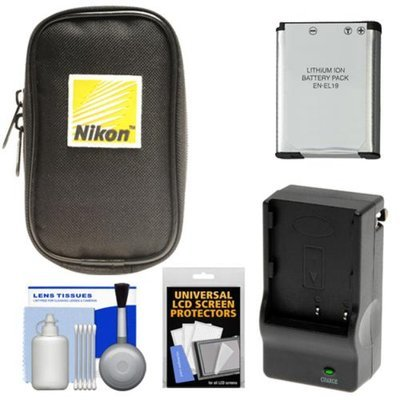 Nikon Coolpix Nylon Digital Camera Carrying Case with EN-EL19 Battery & Charger + Accessory Kit for S32, S100, S3100, S3300, S5300, S6800
