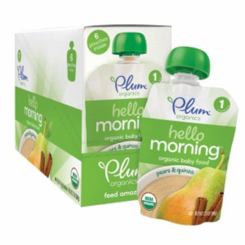 Plum Organics Stage 1 Hello Morning, Pears & Quinoa, 6 ea
