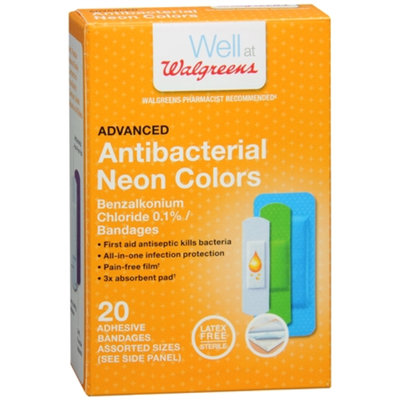 Walgreens Advanced Antibacterial Adhesive Bandages Assorted Sizes, 20 Each