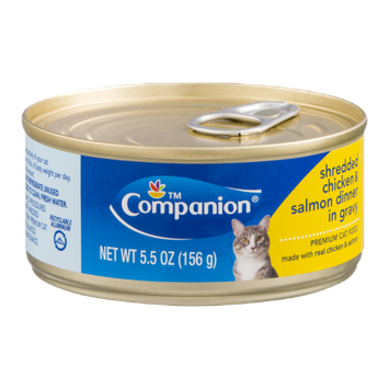Companion Premium Cat Food Shredded Chicken & Salmon Dinner in Gravy
