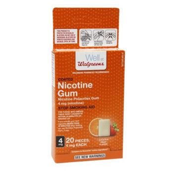 Walgreens Coated Nicotine Gum, 4mg, Fruit, 20 ea