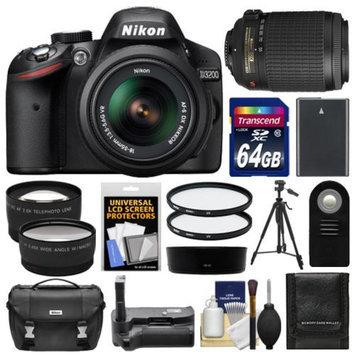 Nikon D3200 Digital SLR Camera & 18-55mm G VR DX AF-S Zoom Lens (Black) with 55-200mm VR Lens + 64GB Card + Case + Battery + Grip + Tripod + Lens Set + UV Filters