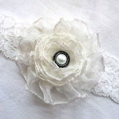 Tribe Baby Headband Ivory Satin Lace Flower and Pearl by Delicate Princess (Medium (6 months-2 years))
