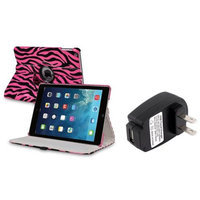 Insten INSTEN Pink/Black Zebra 360 Leather Case Cover+Charger For Apple iPad Air 5 5th Gen
