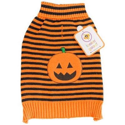 Fashion Pet Lookin' Good Striped Pumpkin Dog Sweater: X-Small - (Fits
