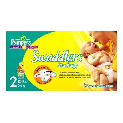 Pampers Swaddlers Diapers, Size 2, 92-Count
