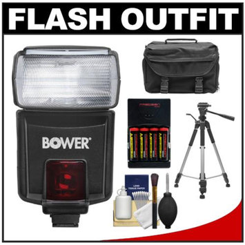 Bower SFD926O Digital Autofocus Power Zoom Flash (for Olympus/Panasonic) with Batteries + Case + Tripod + Kit