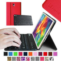 Fintie Wireless Bluetooth Keyboard Smart Shell Case Cover for Samsung Galaxy Tab S 8.4 Tablet, Red