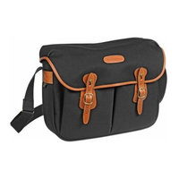 Billingham Hadley Large, SLR Camera System Shoulder Bag, Black Canvas with Tan Leather Trim and Brass Fittings