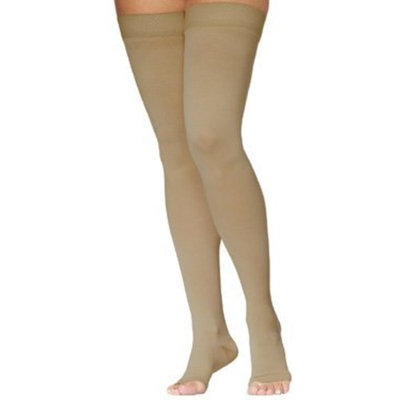 Sigvaris Access Thigh High 30-40mmHg Unisex Open Toe Long Length, Large Long, Crispa