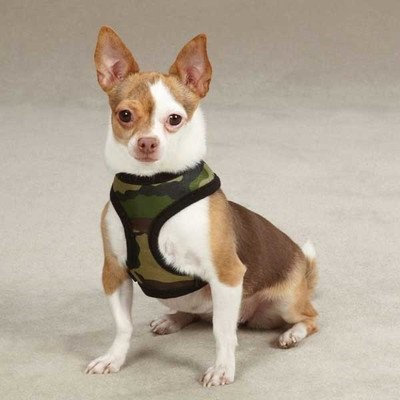 Petedge ZW2195 12 43 Casual Canine Fabric Camo Harness Sm Green