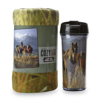 The Northwest Company Travel Mug & Fleece Throw - Horses