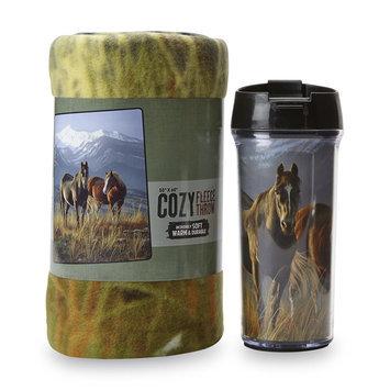 The Northwest Company Travel Mug & Fleece Throw - Horses