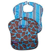 Wupzey Waterproof Food Catcher Bib, 2 Pack, Blue Stripe/Blue Giraffe, X-Large