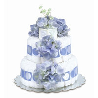 Bloomers Baby Diaper Cake Classic Blue Hydrangea 2-Tier