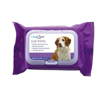 ClearQuest Dog and Cat Ear Wipes, 25-Pack