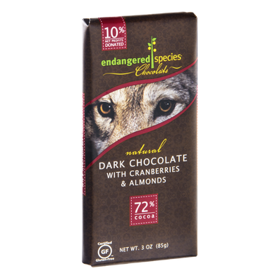 Endangered Species Chocolate Dark Chocolate With Cranberries & Almonds Bar Natural - Wolf