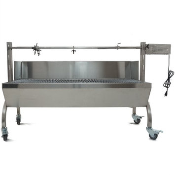 Titan Distributors Rotisserie Grill Roaster w/ Windscreen Stainless Steel 25W 125LBS capacity BBQ