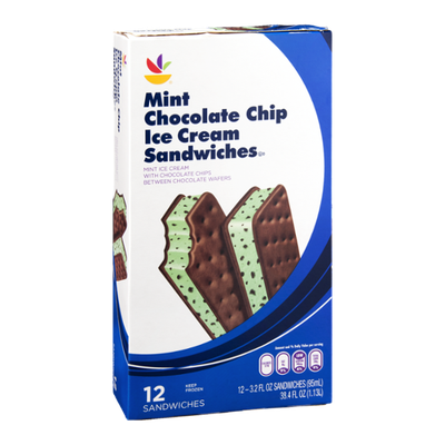 Ahold Mint Chocolate Chip Ice Cream Sandwiches - 12 CT