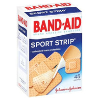 Band-Aid Brand Adhesive Bandages, Sport Strip, 45-Count Assorted Sizes (Pack of 6)