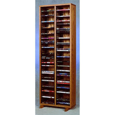 Wood Shed 18 in. DVD Storage Tower w Individual Locking Slots (Honey Oak)