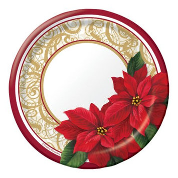Party Central Club Pack of 96 Poinsettia Lace Ensemble Disposable Paper Party Lunch Plates 7