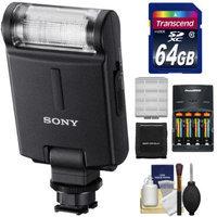 Sony Alpha HVL-F20M Flash with 64GB Card + Batteries & Charger + Kit for A3000, A7, A7R, A99, A58, NEX-6, Cyber-Shot DSC-RX1, RX1R, RX10, RX100 II, HX50V, HX400V Camera