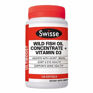 Swisse Ultiboost Wild Fish Oil with D3 Softgels