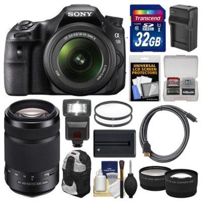 Sony Alpha SLT-A58 Digital SLR Camera Body & 18-55mm with 55-300mm Lens + 32GB Card + Backpack + Flash + Battery/Charger + 2 Lens Kit