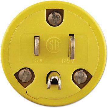 molex Super-Safeway Male-End Replacement Plug, NEMA 5-15, Rubber, Yellow