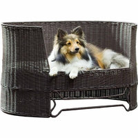 The Refined Canine's Wicker Dog Day Bed with Outdoor Cushion