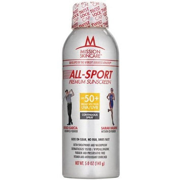 MISSION Skincare All-Sport SPF 50+ Continuous Spray, 5-Ounce Unit