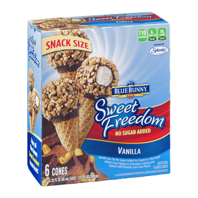 Blue Bunny Sweet Freedom No Sugar Added Vanilla Ice Cream Cones