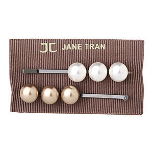 Jane Tran Hair Accessories Acrylic Pearl Bobby Pin Set